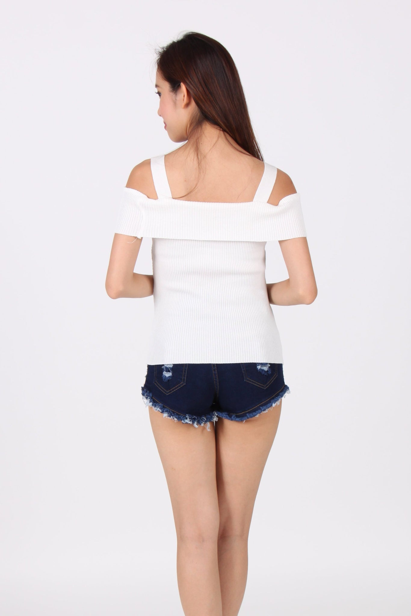 Knit Cross Cold-Shoulder Top in White
