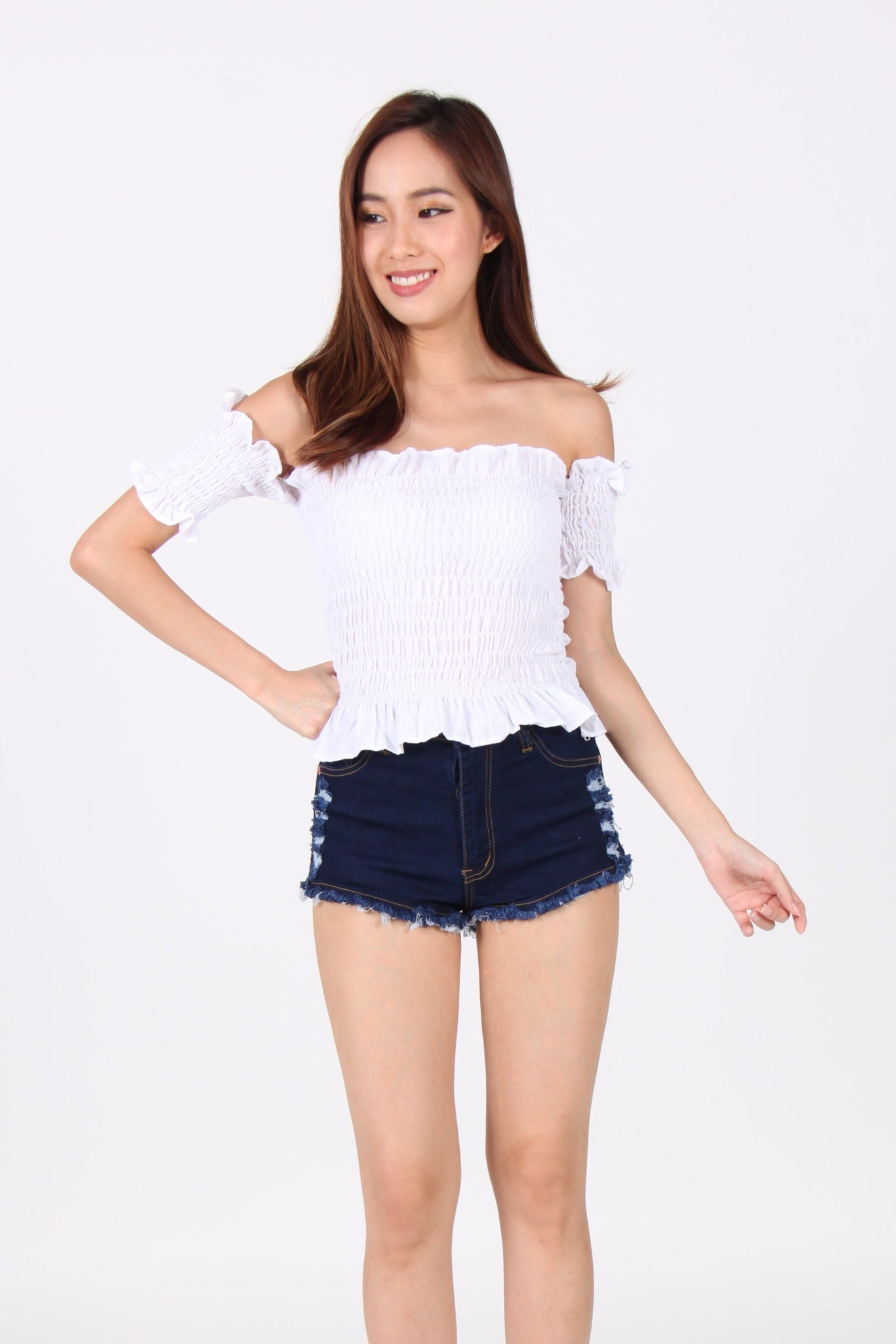 Smocked Ruffles Off Shoulder Top in White
