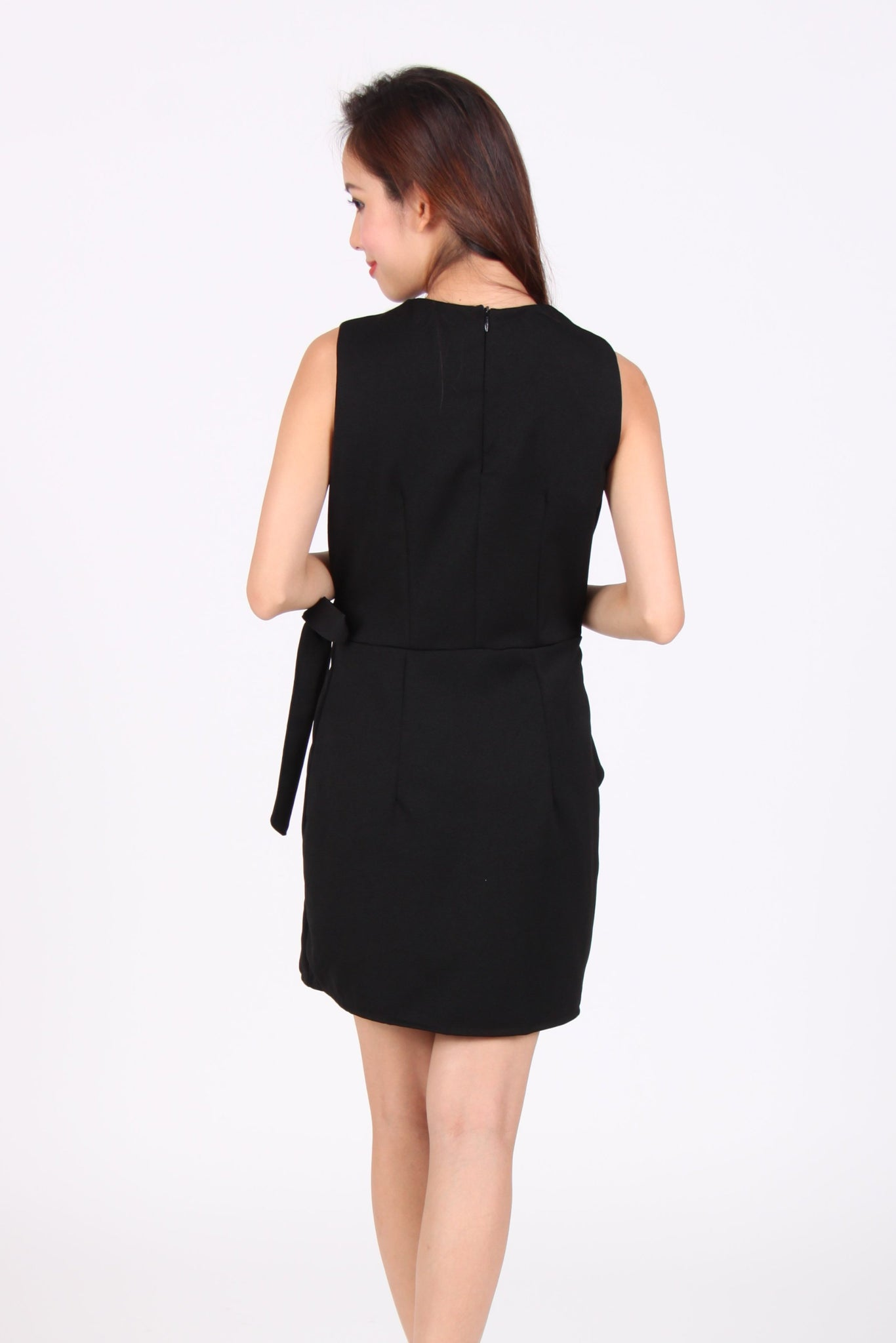 Sleeveless Overwrap Shift Dress in Black