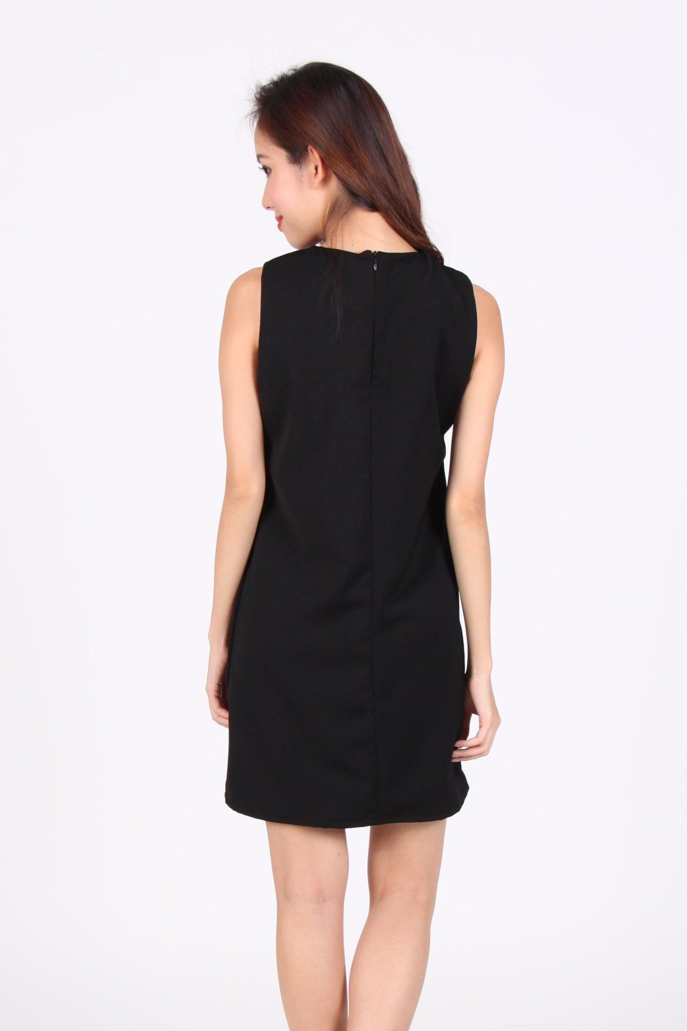 Bow Alike Sleeveless Shift Dress in Black