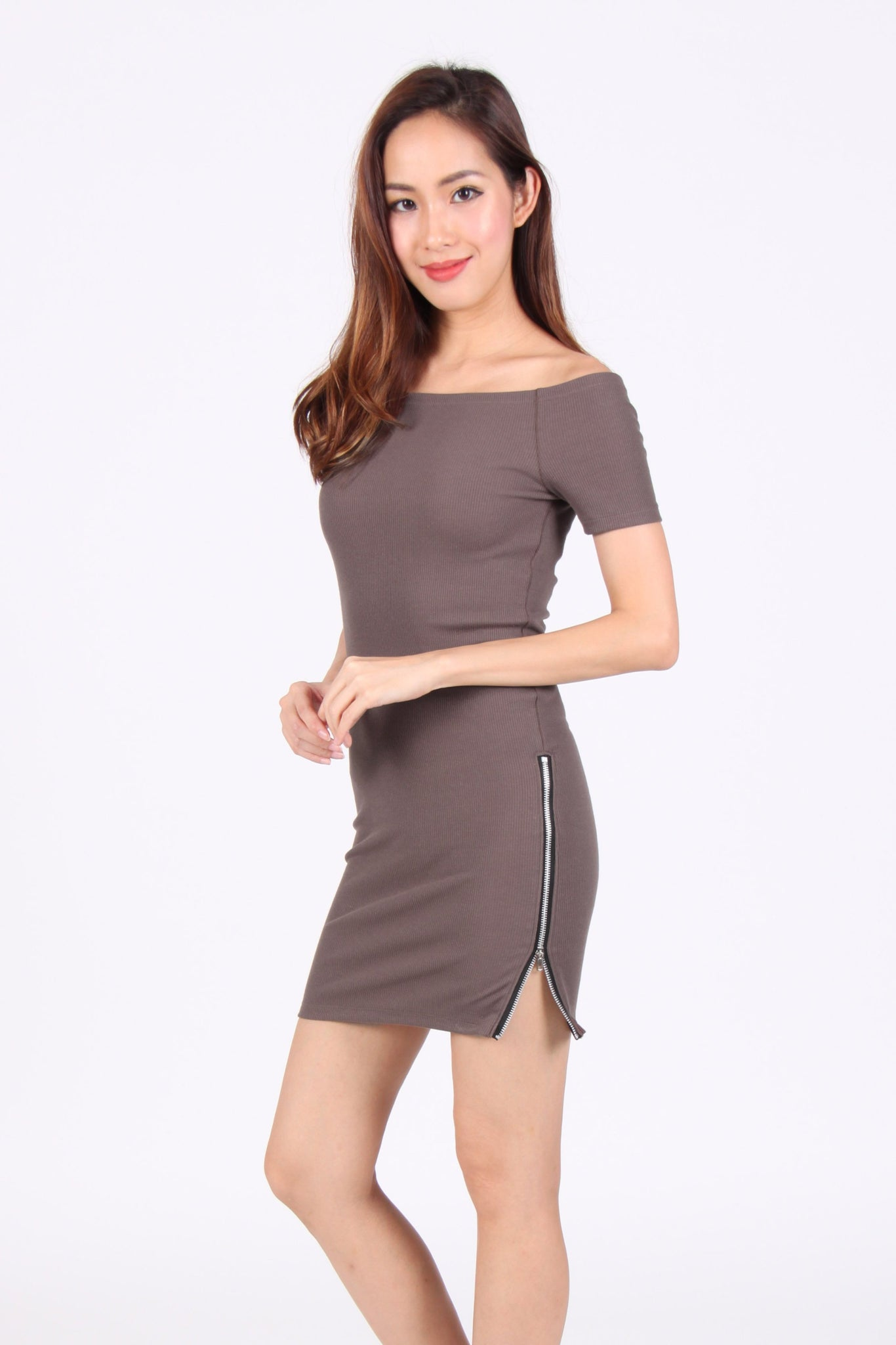 Off-Shoulder Side Zip Bodycon Dress in Brown