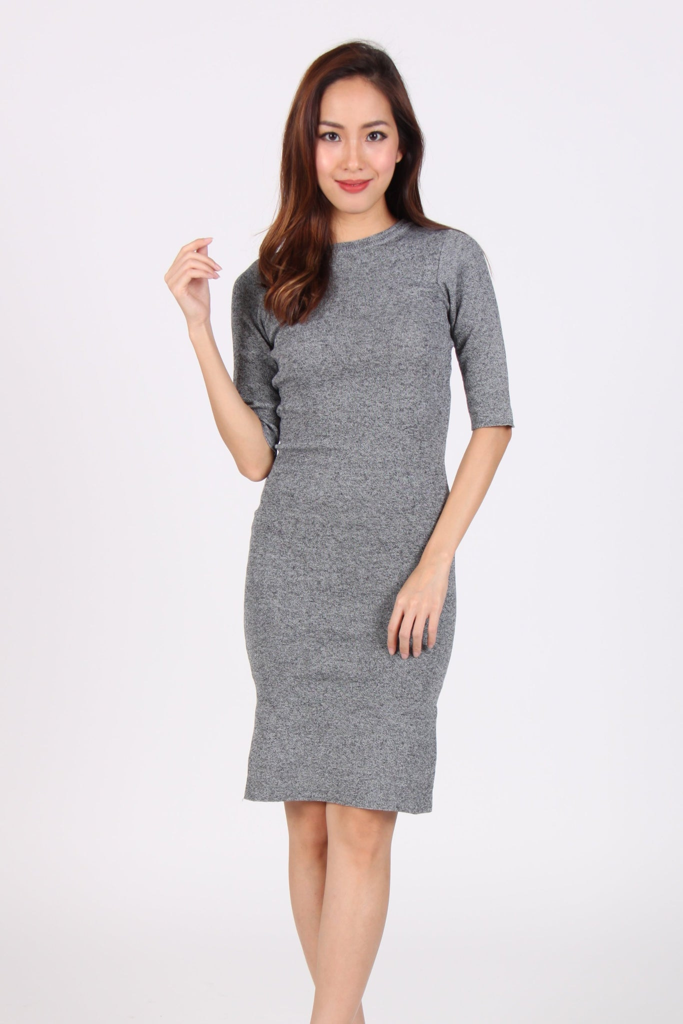 Quarter Sleeve Side Slit Bodycon Midi Dress in Dark Grey