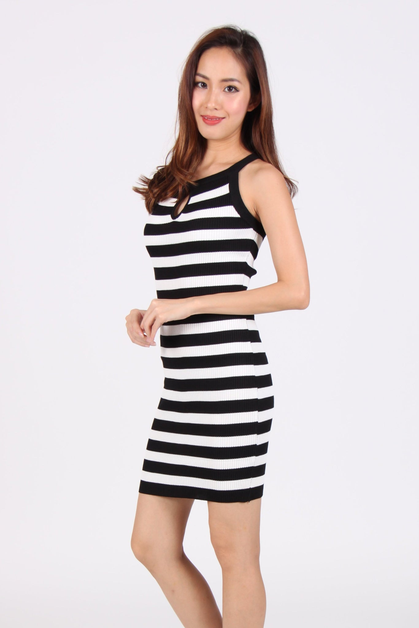 Stripes Keyhole Halter Bodycon Dress in Black
