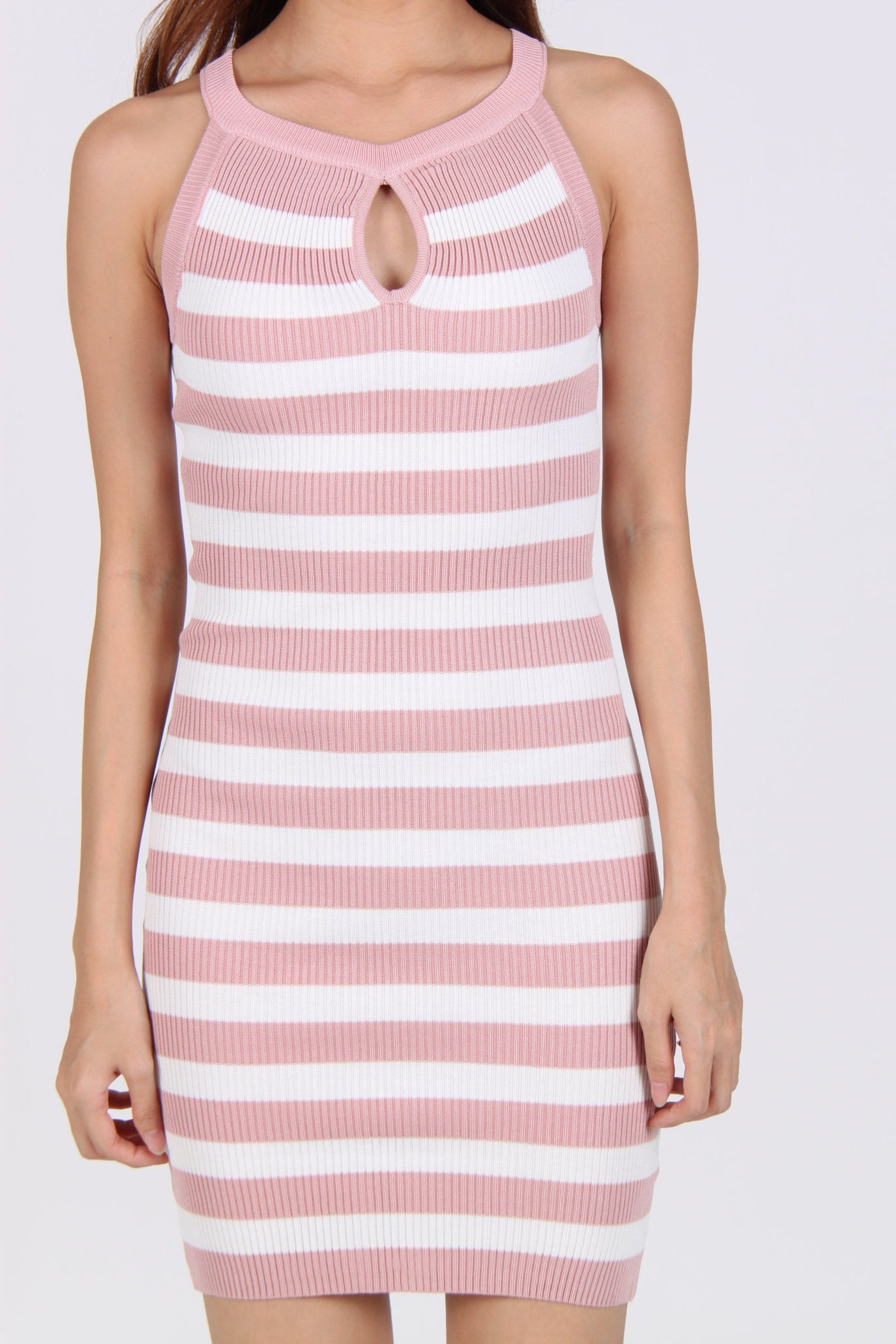 Stripes Keyhole Halter Bodycon Dress in Pink