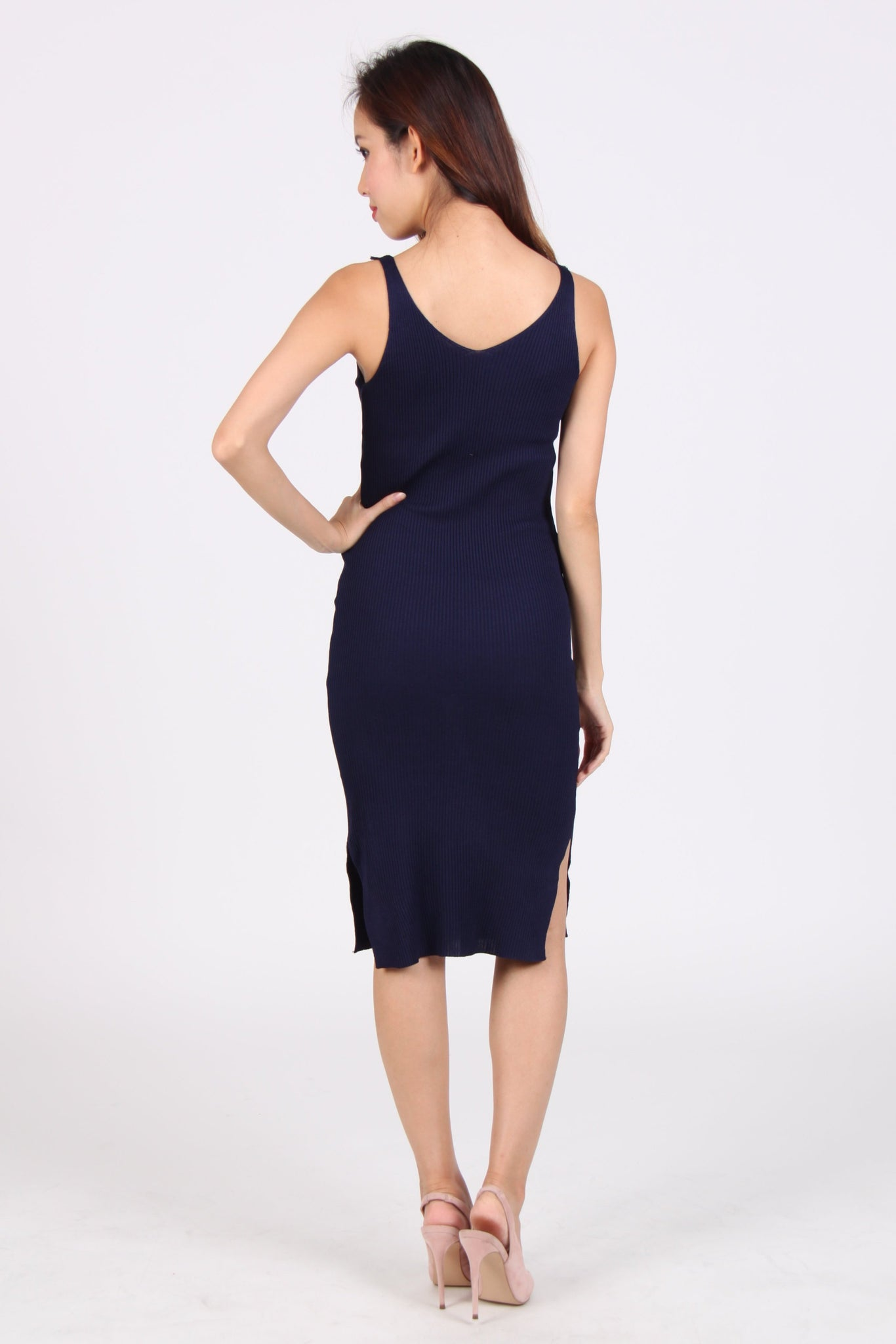 Front Zip Side Slit Bodycon Midi Dress in Navy Blue