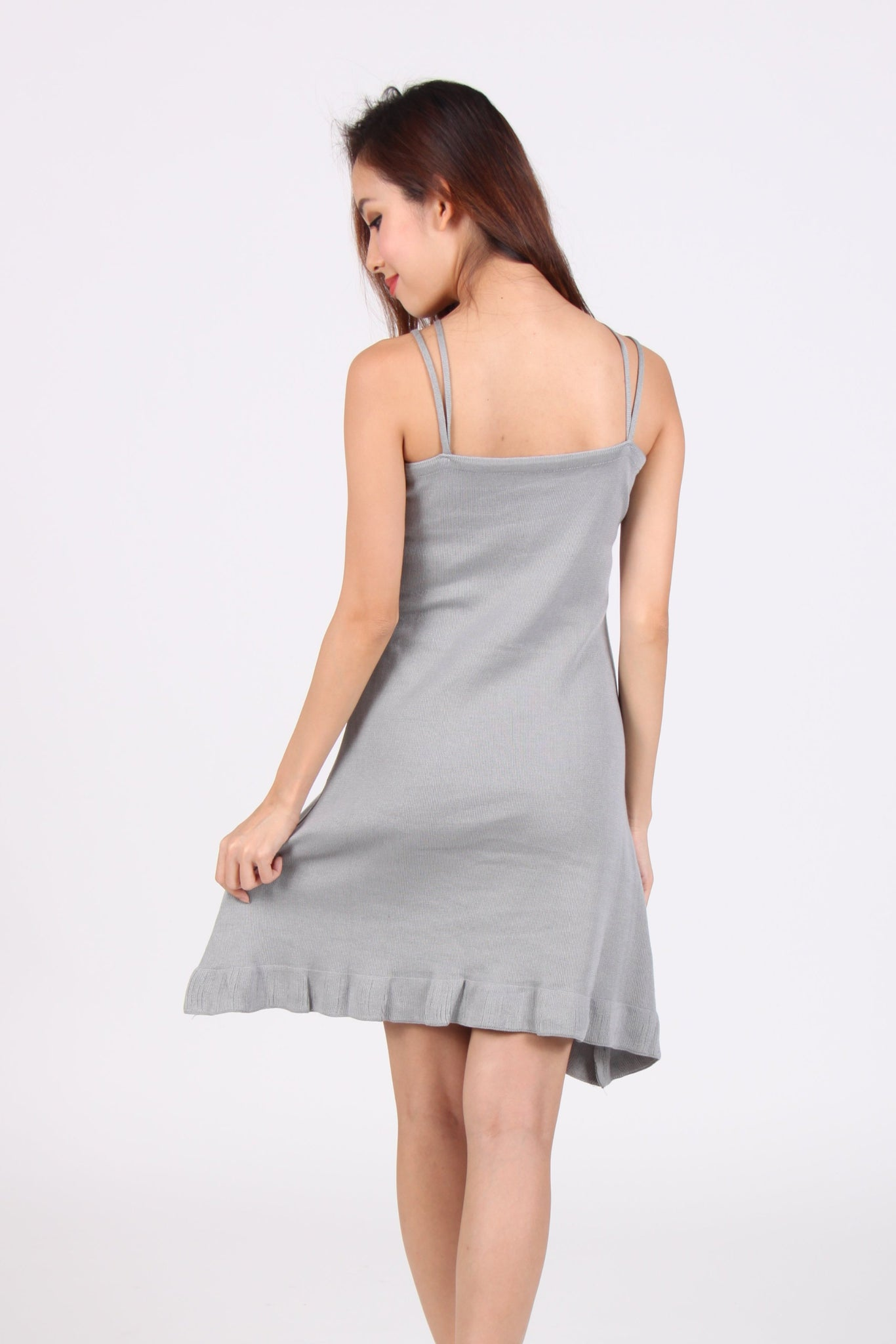 Spag Halter Knit Dress in Light Grey