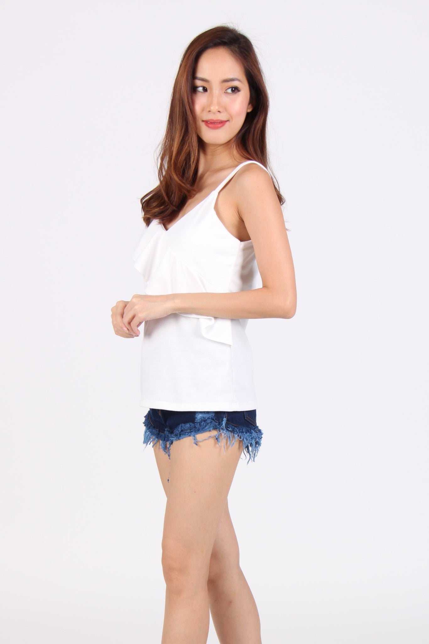 Basic Spag Ruffles V-Neck Top in White