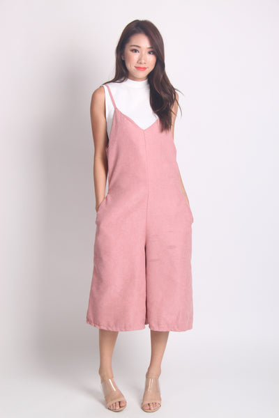 Suede Cropped Jumpsuit in Pink