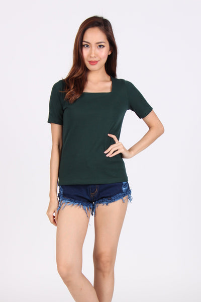 Basic Comfy Square Neck Top in Dark Green