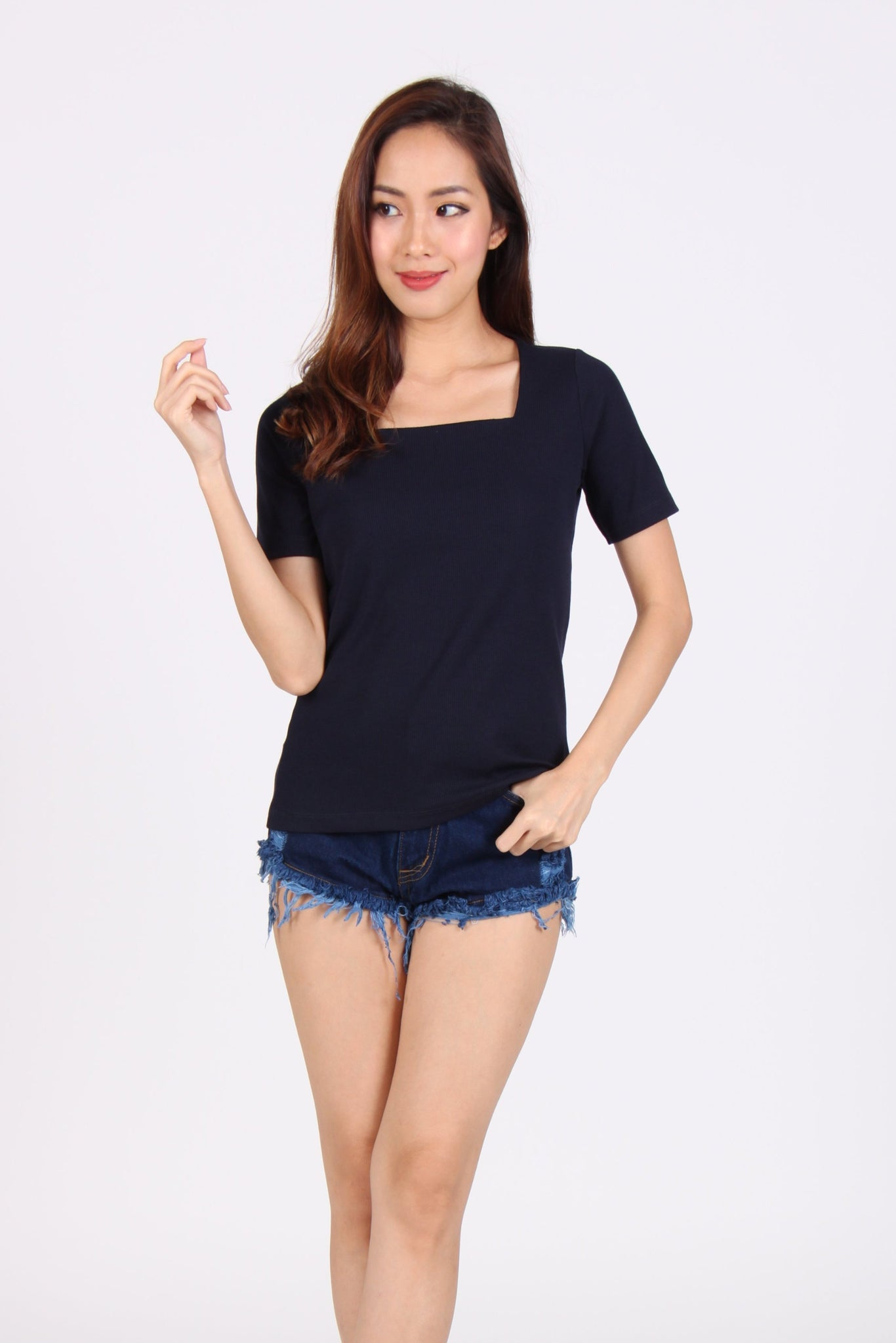 Basic Comfy Square Neck Top in Navy Blue