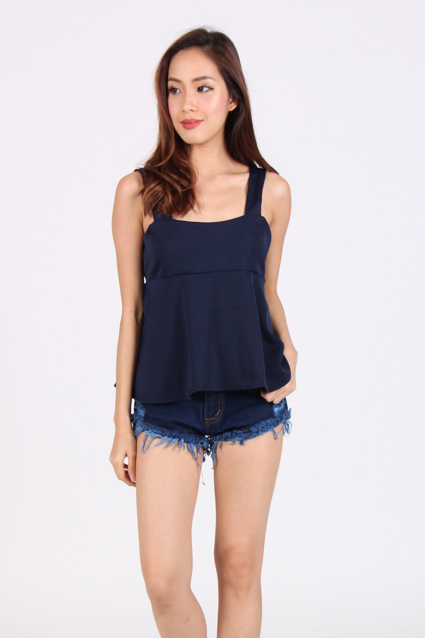Sleeveless Babydoll Top in Navy Blue