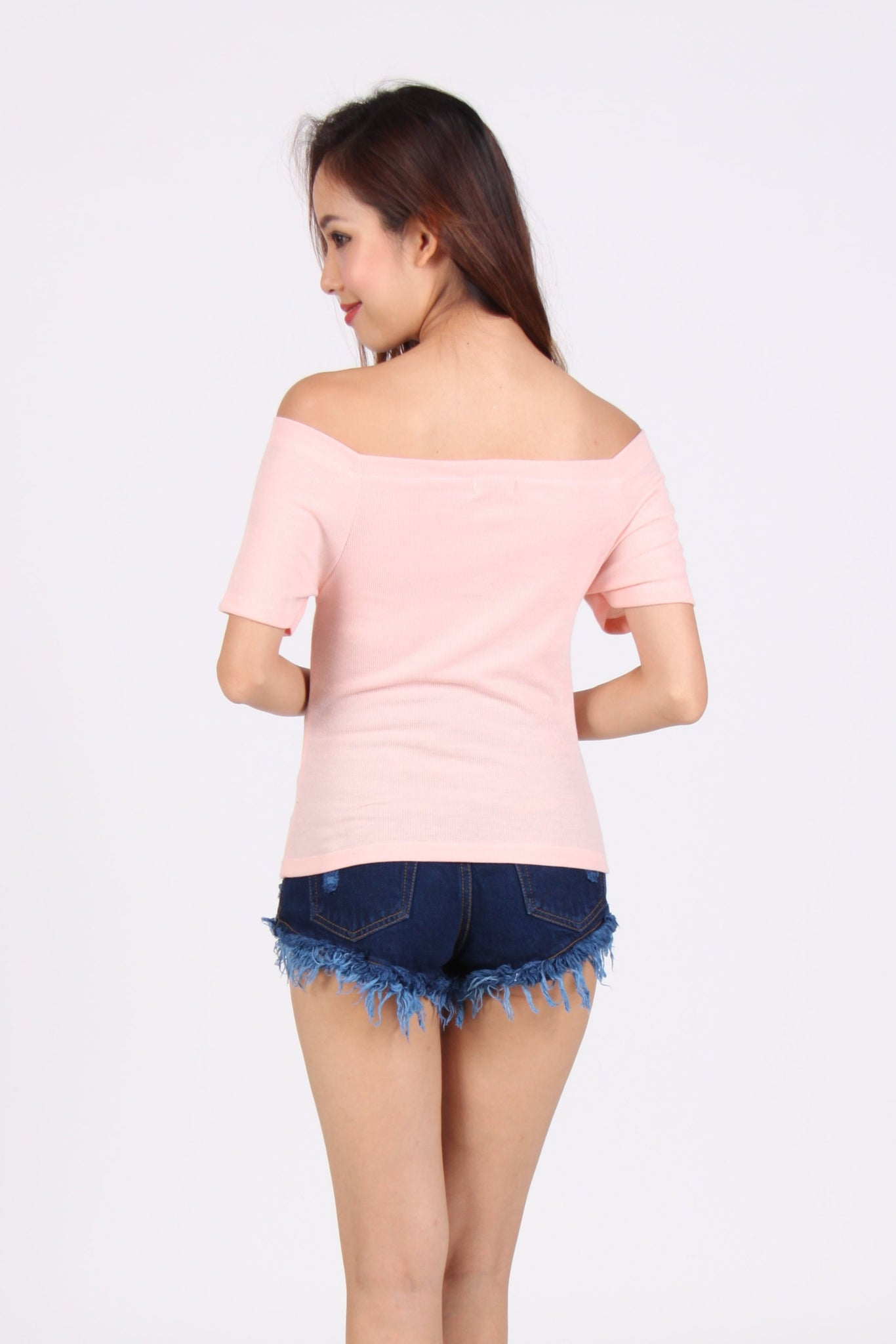 Basic Off-shoulder Cotton Top in Peach