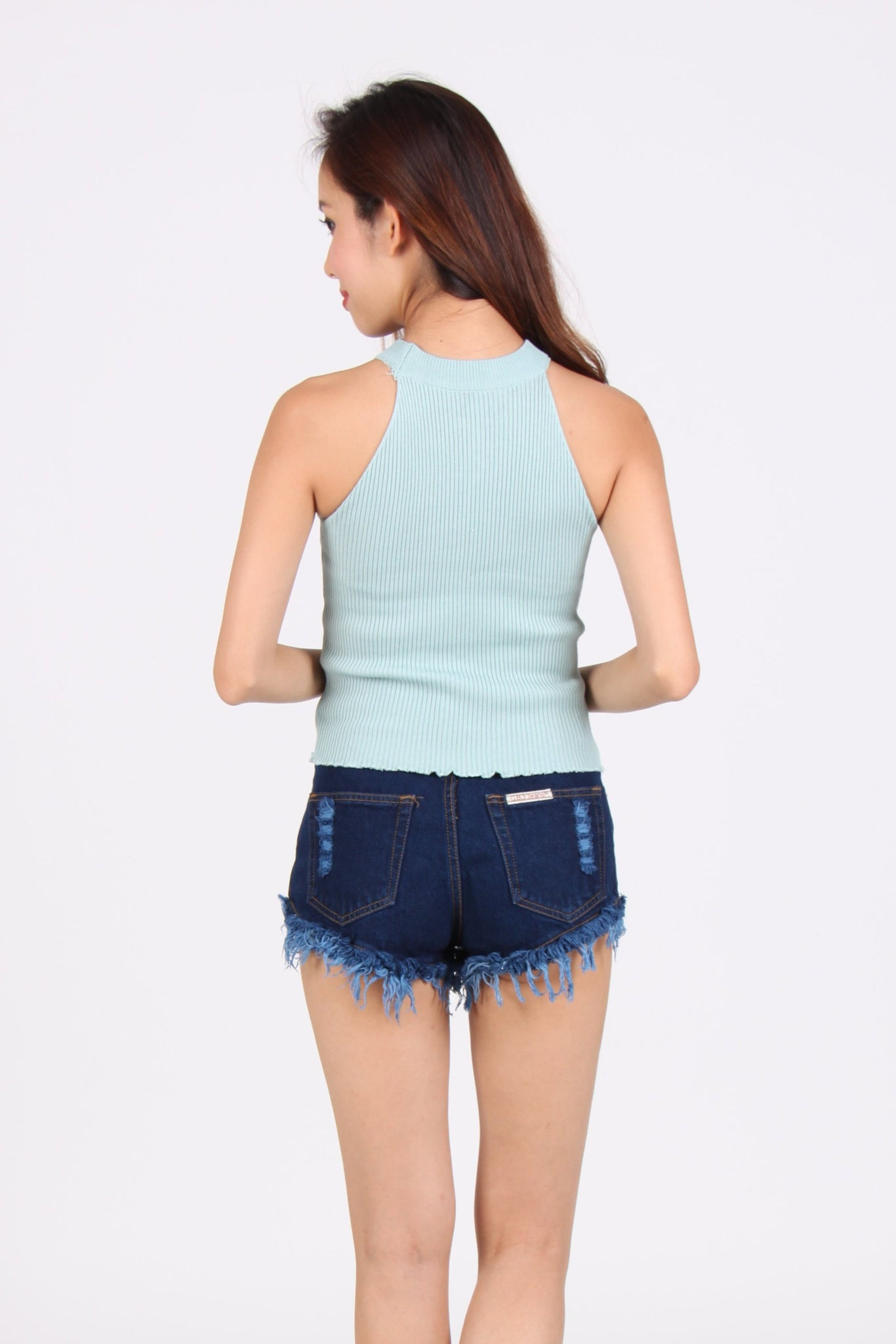 Wave Halter Knit Top in Tiffany