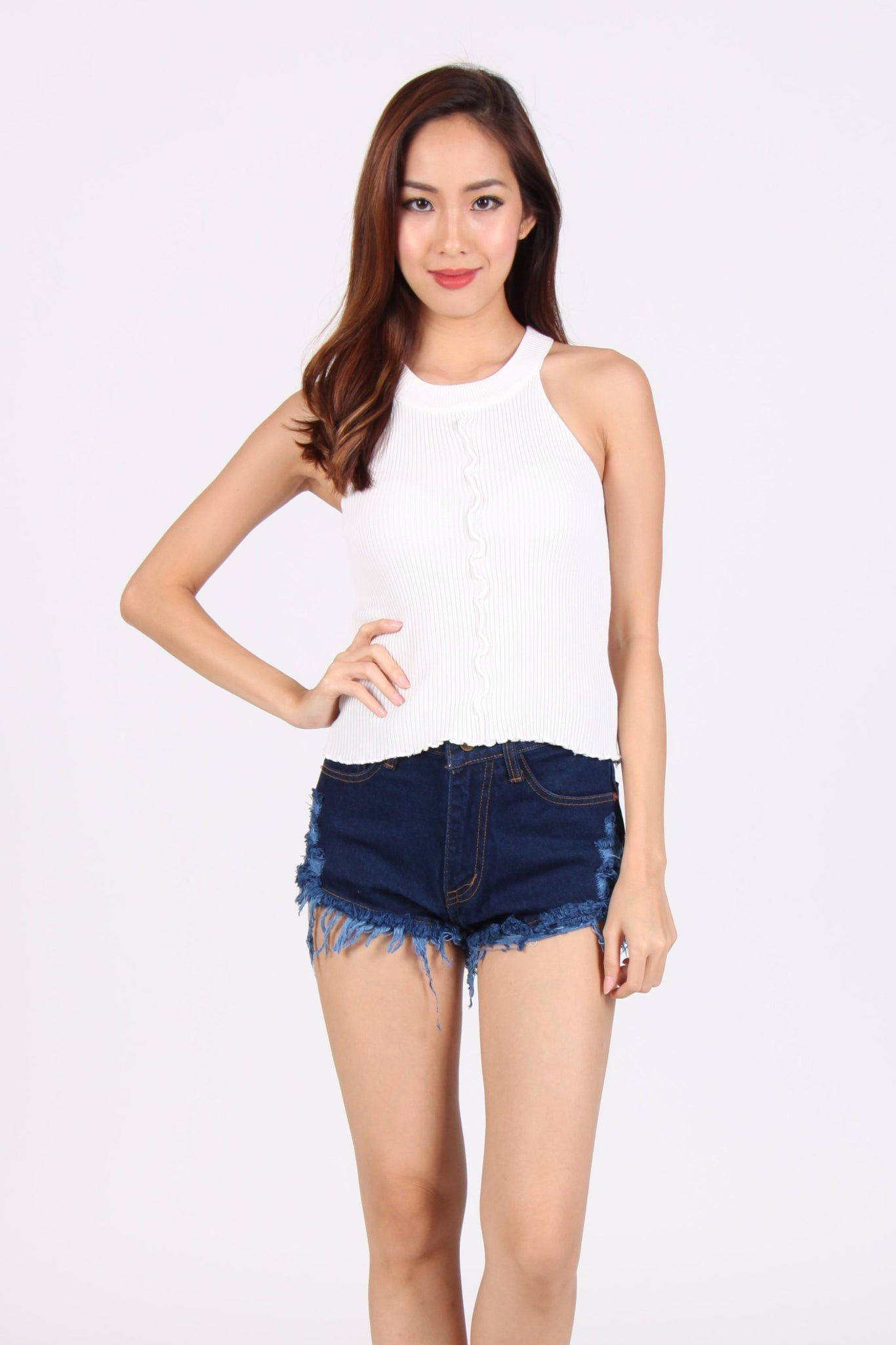 Wave Halter Knit Top in White