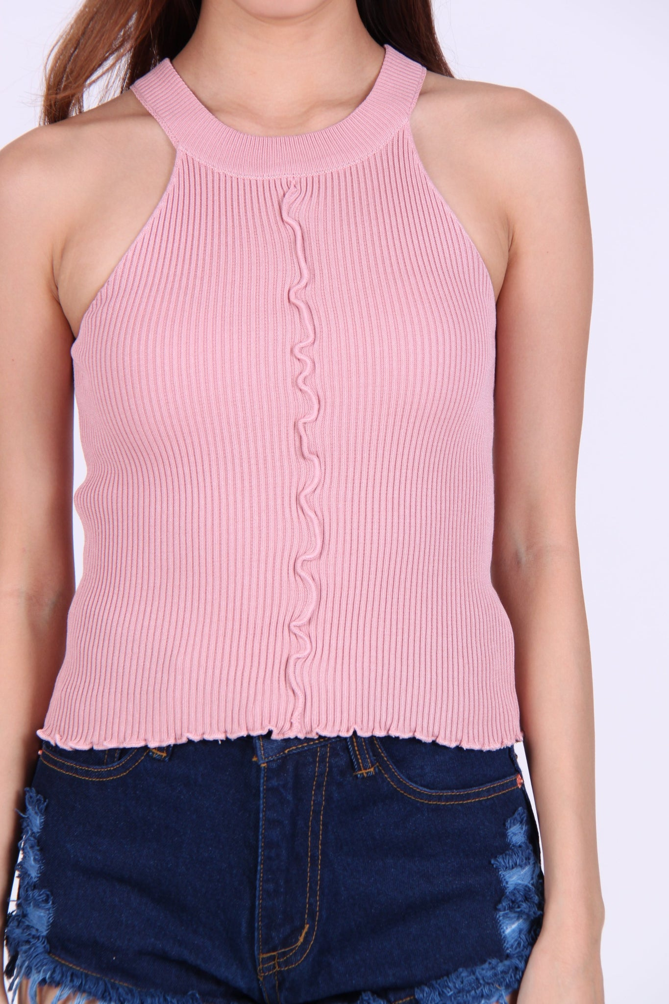 Wave Halter Knit Top in Pink