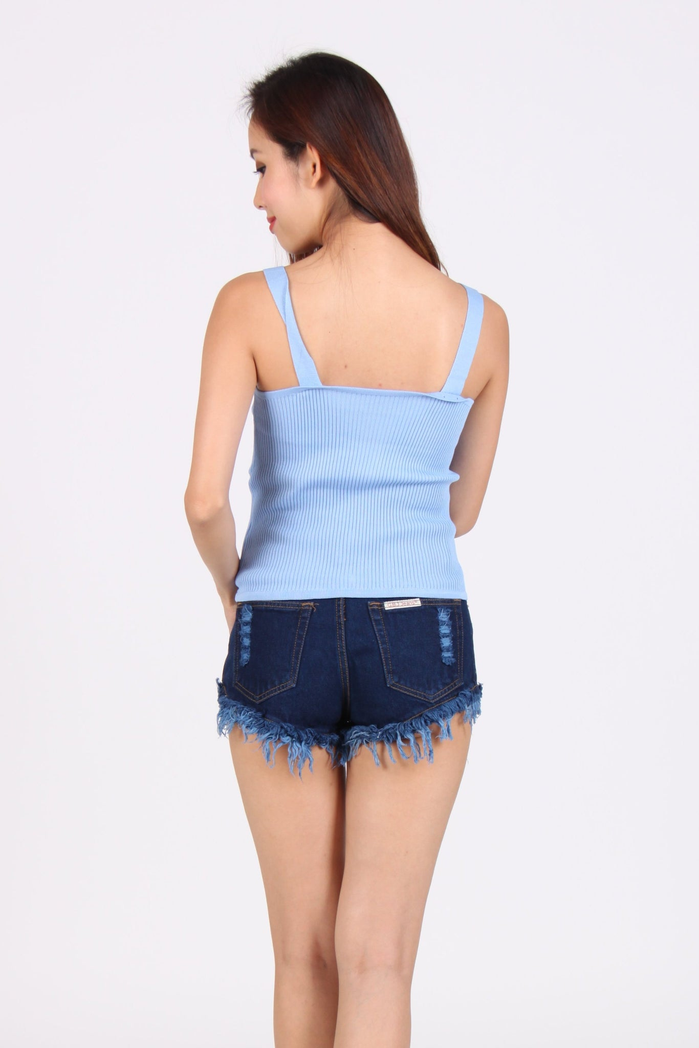Knit Sweet Heart Spag Top in Blue