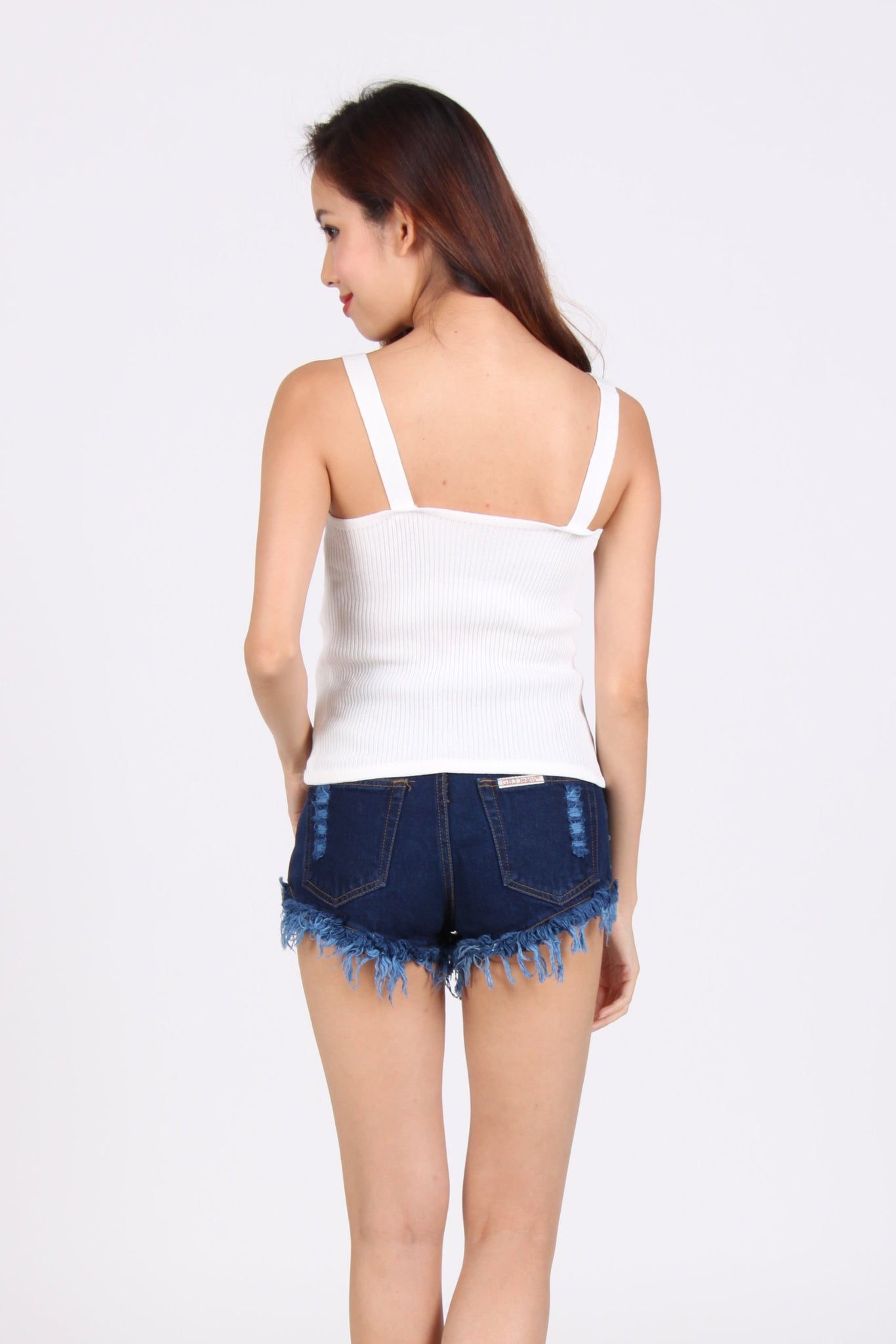 Knit Sweet Heart Spag Top in White