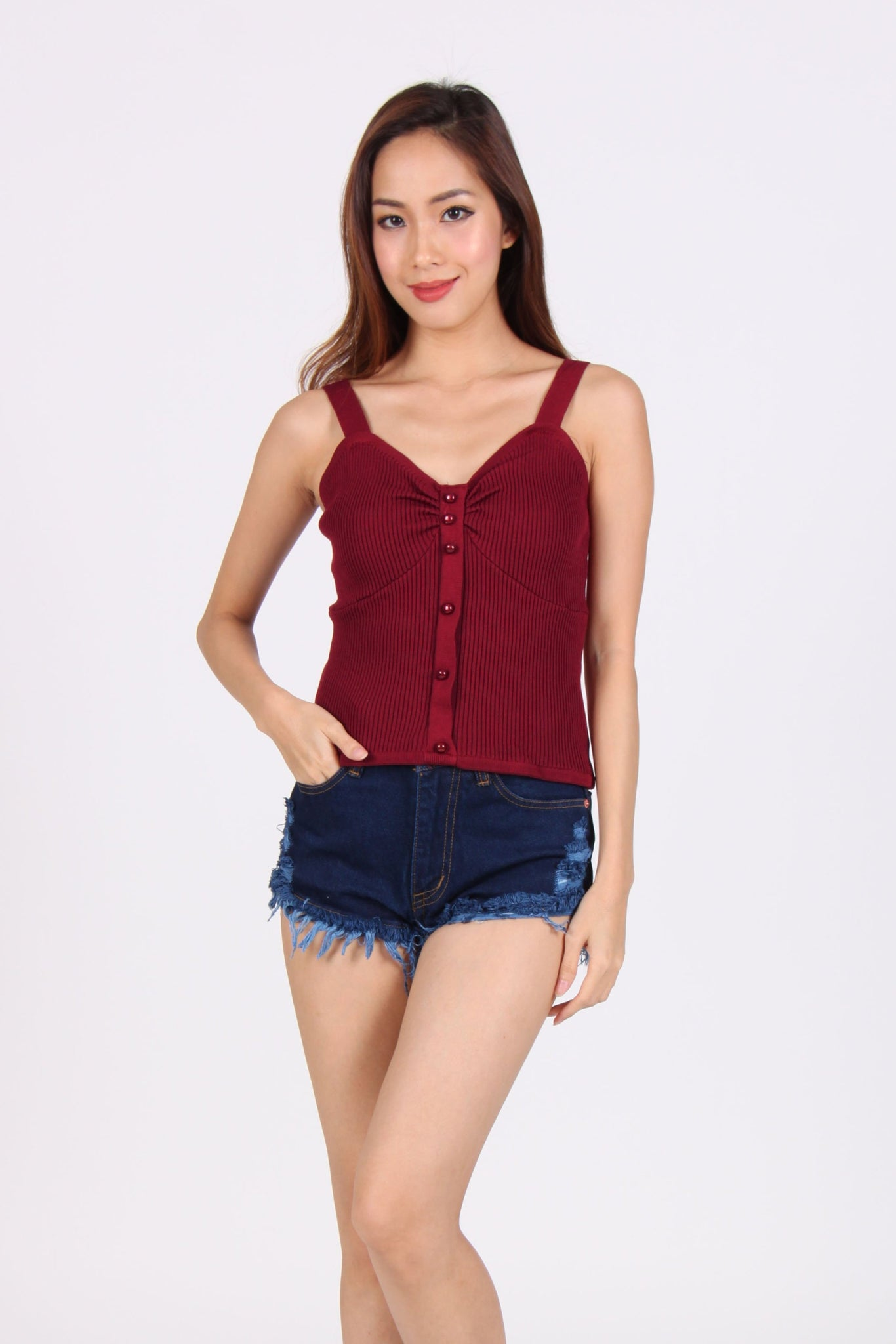 Knit Sweet Heart Spag Top in Maroon