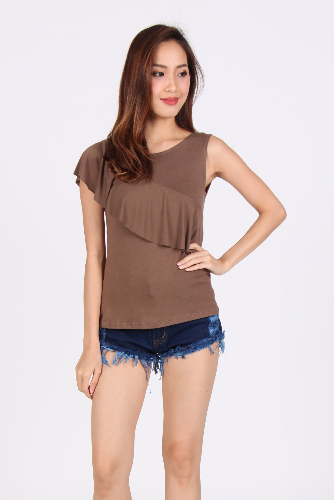 Basic Sleeveless Single Side Ruffles Cotton Top in Brown