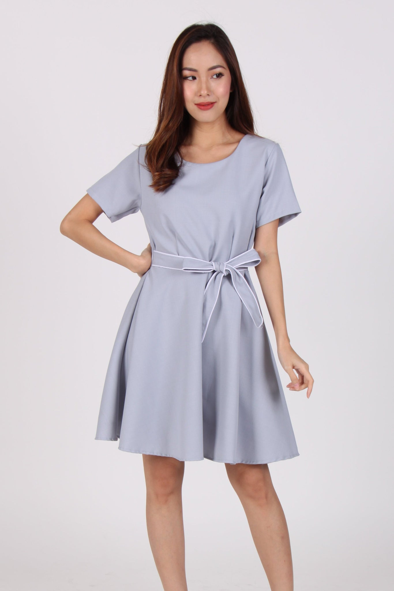 9fa2df89f53f Sleeve Contrast Belt Skater Dress in Light Blue – The Dress Room
