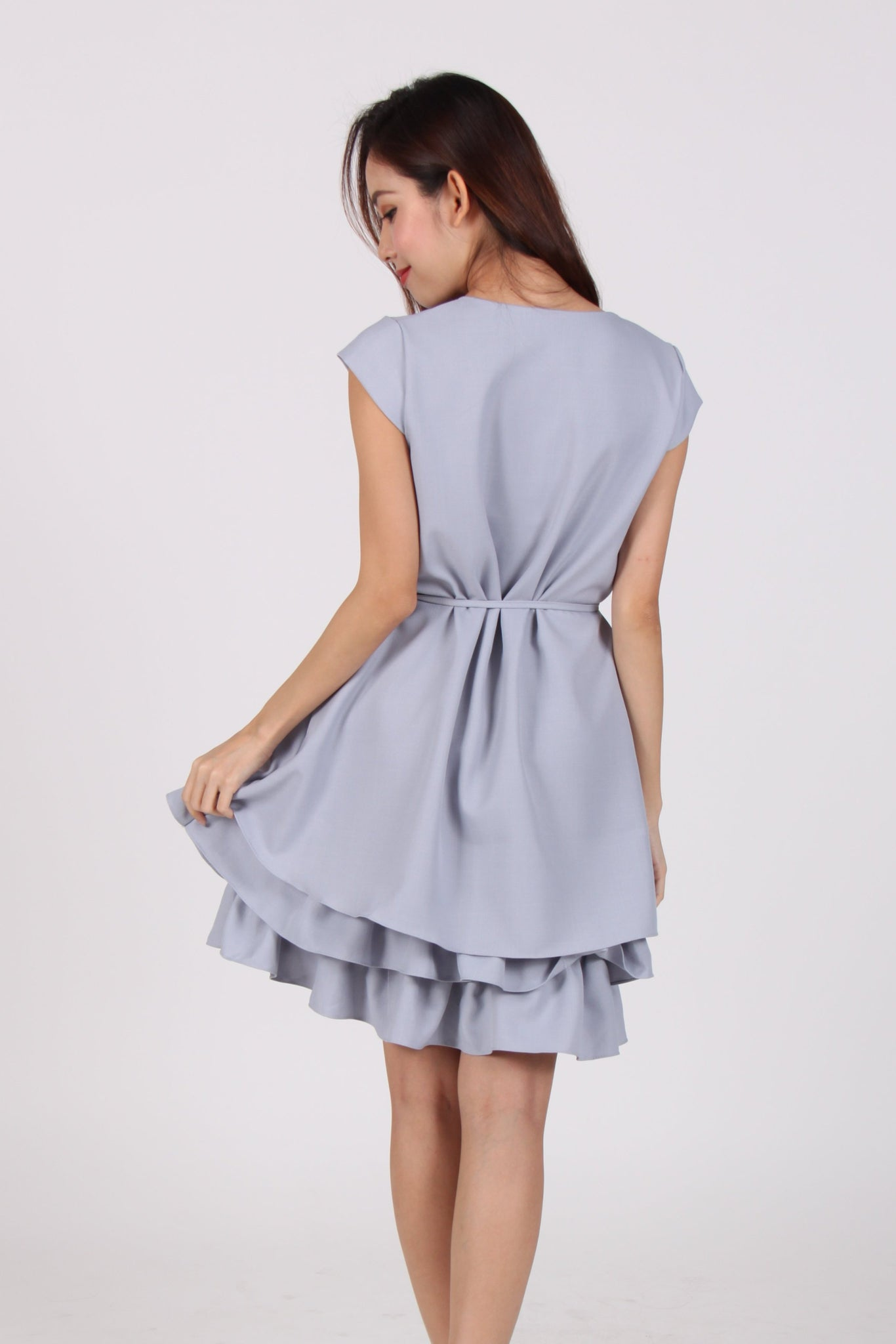 Cap Sleeve Layered Ruffles Dress in Light Blue