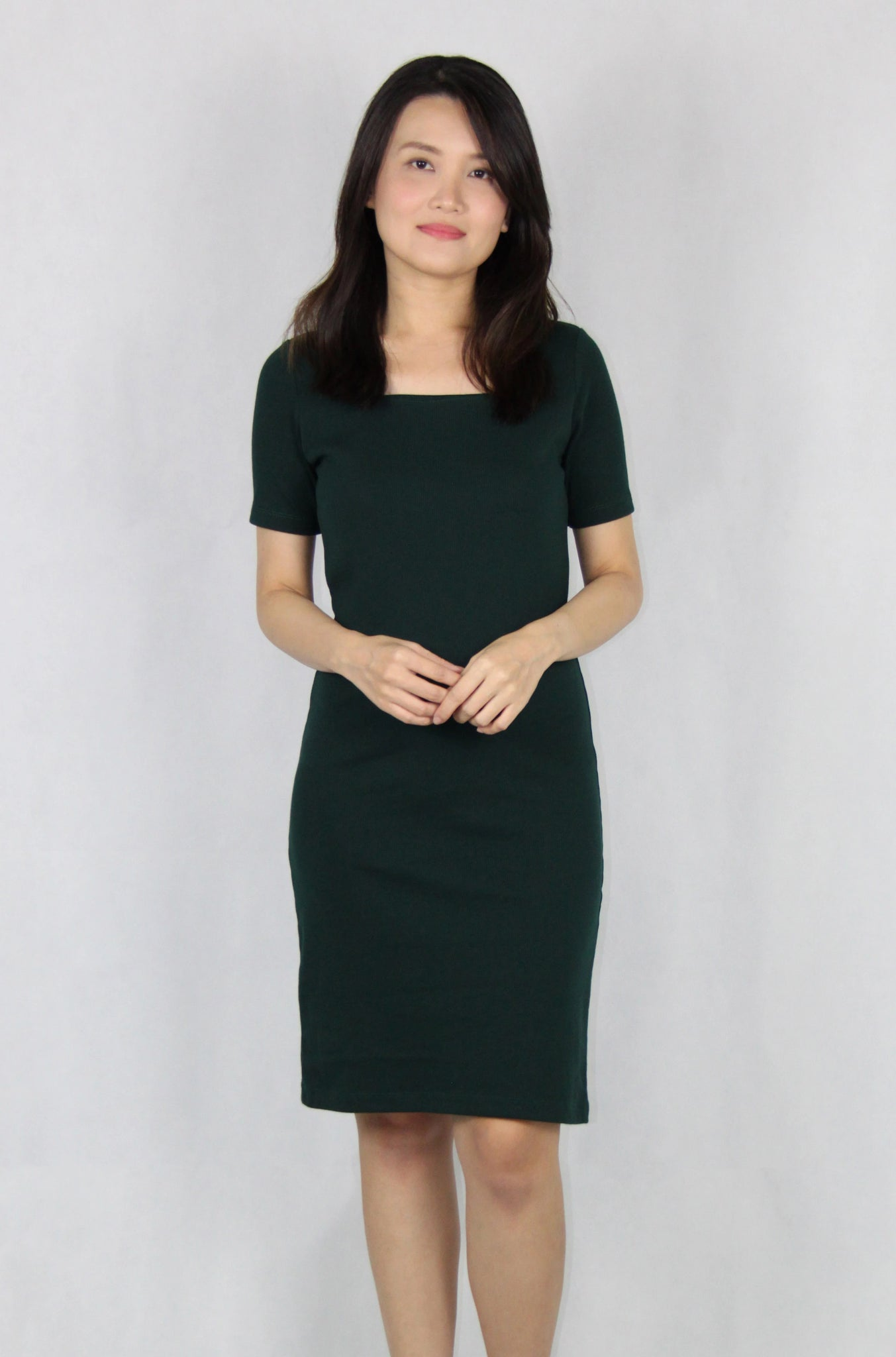 Basic Square Neck Dress in Dark Green