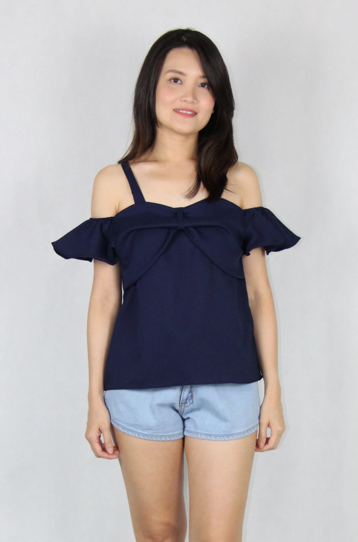 Ruffles Off-Shoulder Top in Navy Blue