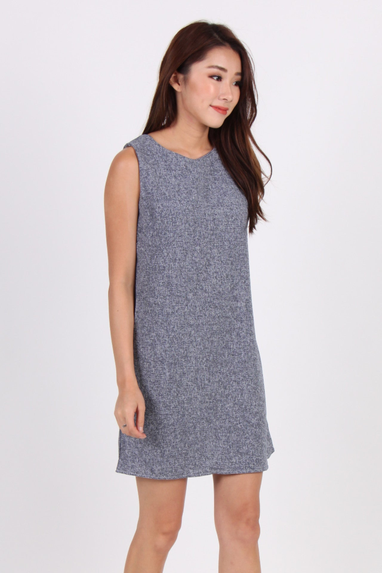 Textured Sleeveless Shift Dress In Blue