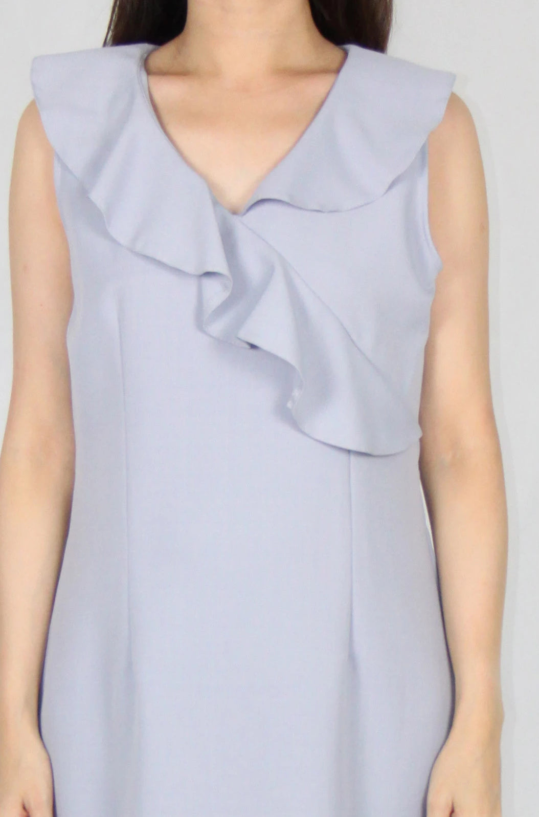 Ruffles Collar Sleeveless V Neck Shift Dress in Light Blue