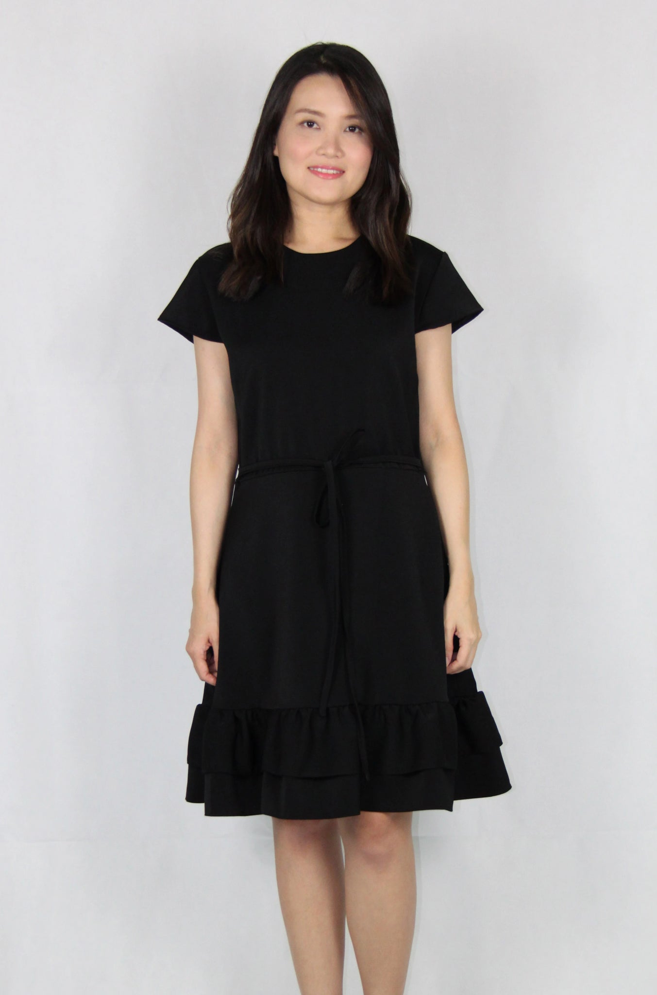 Cap Sleeves Double Layer Front Tie Dress in Black