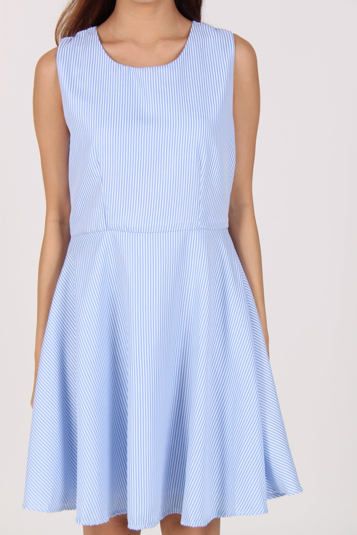 Sleeveless Stripes Skater Dress in Light Blue