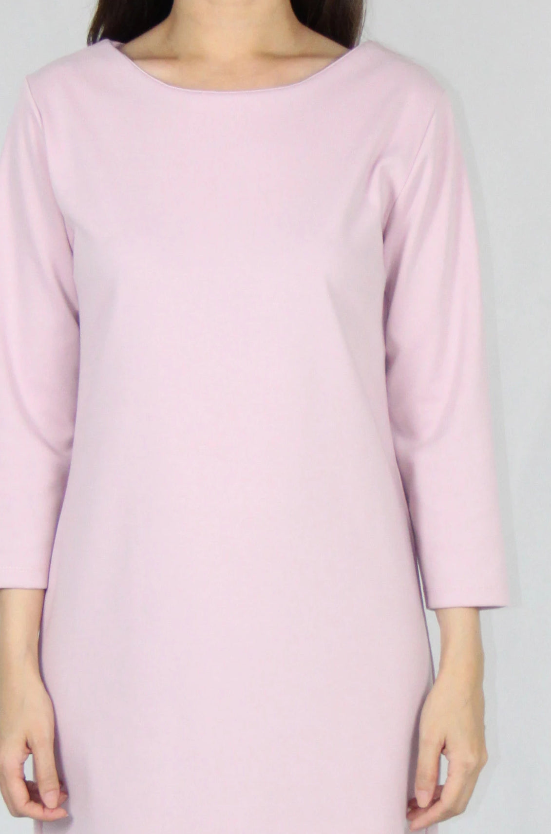 Basic Quarter Sleeve Loose Fit Dress in Pink