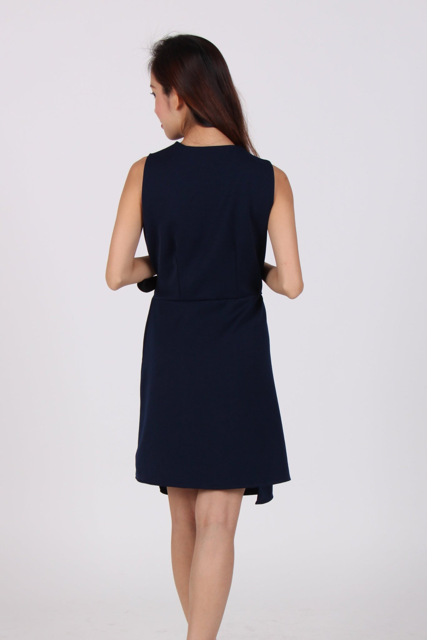Asymmetrical Contrast Ribbon Wrap Dress in Navy Blue