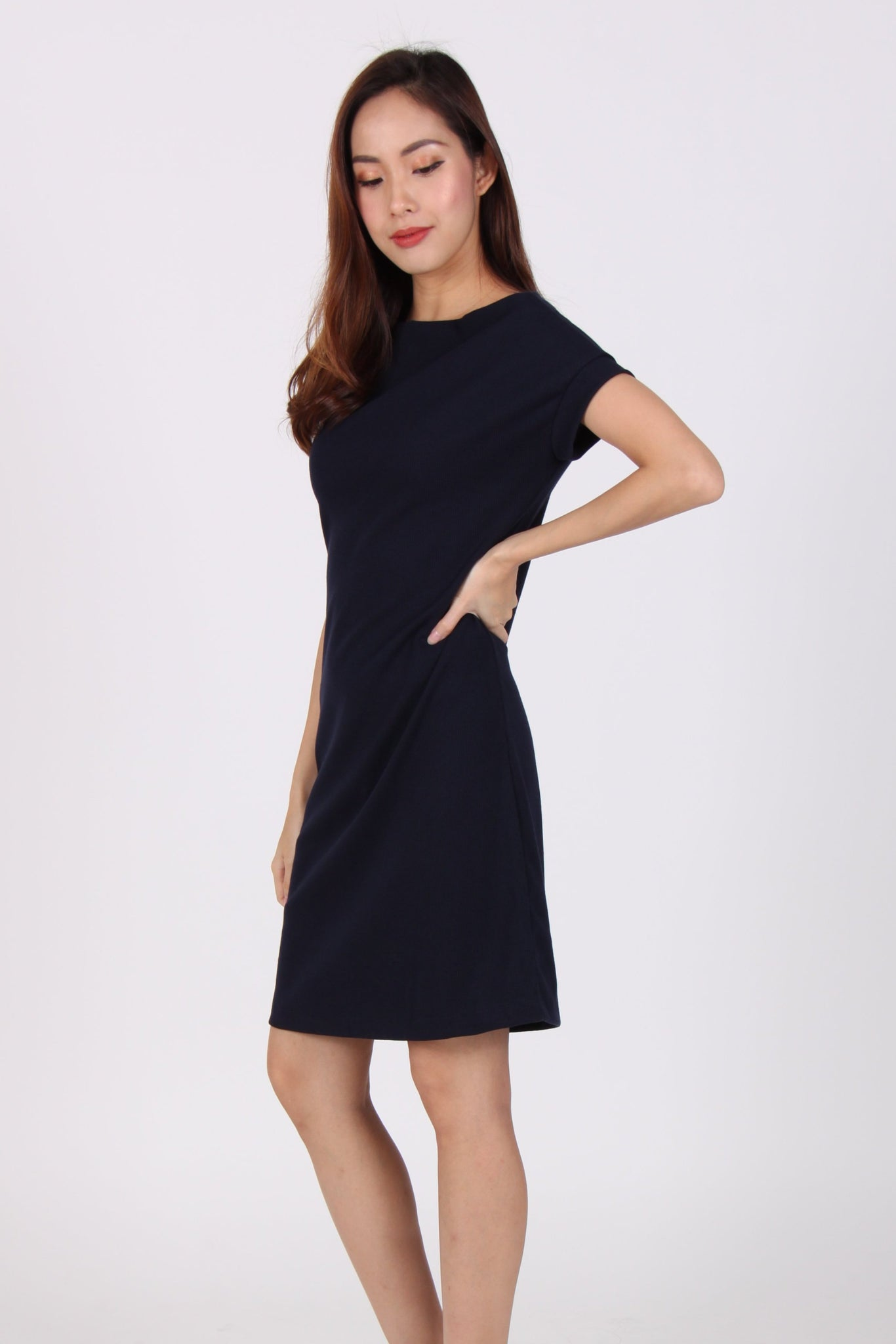 Basic Comfy Boat Neck Tee Dress in Navy Blue