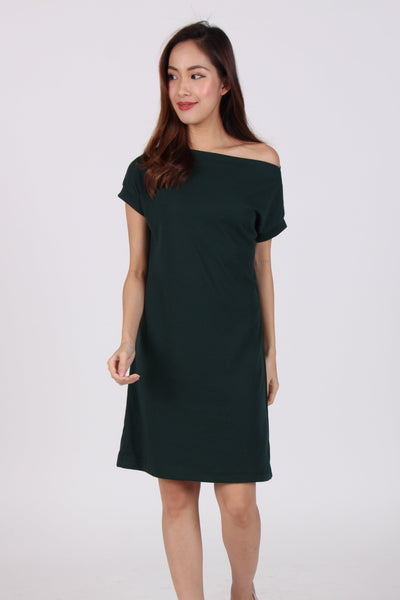 Basic Comfy Boat Neck Tee Dress in Dark Green