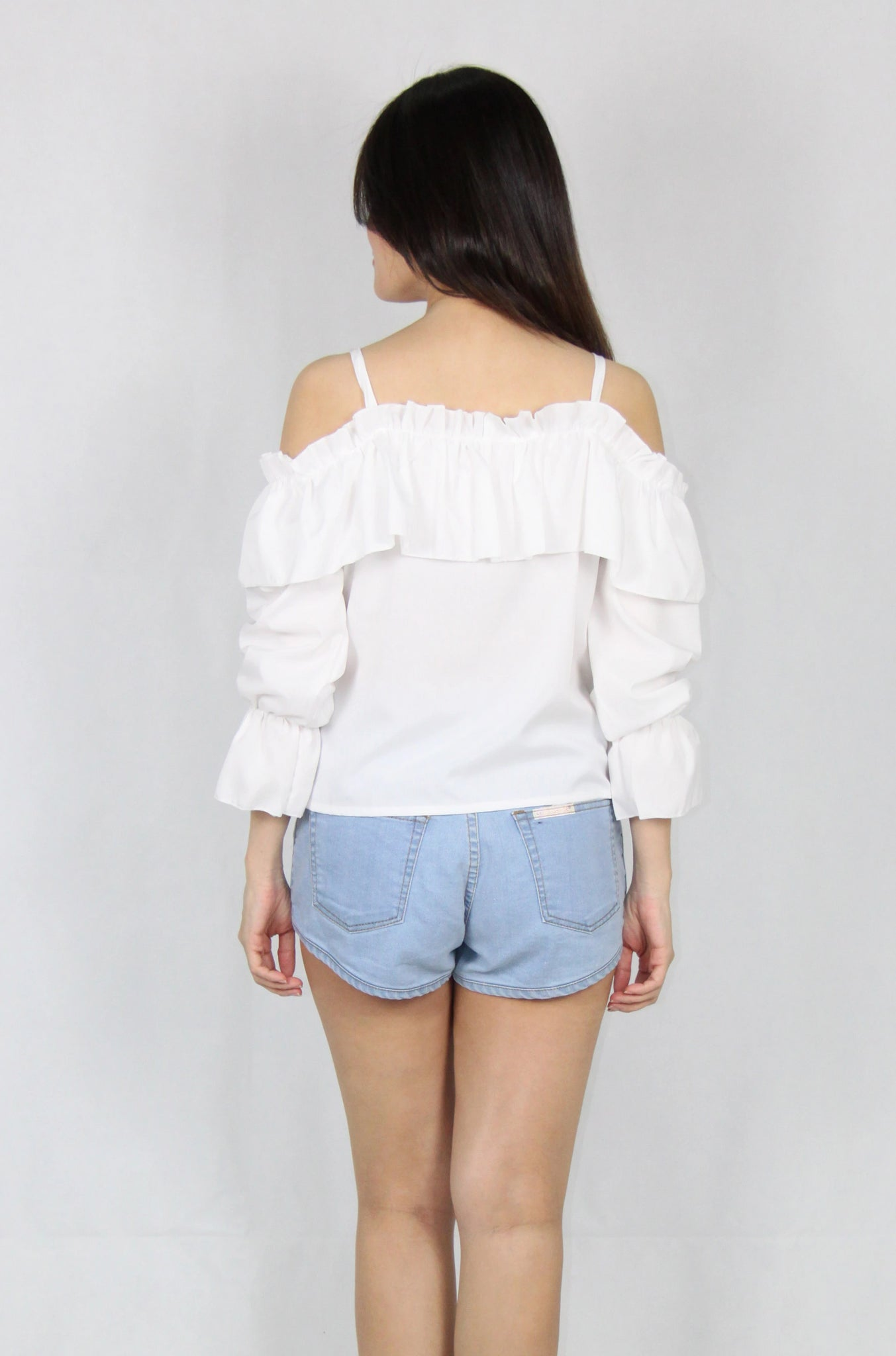 Ruffles Long Sleeve Cold Shoulder Top in White