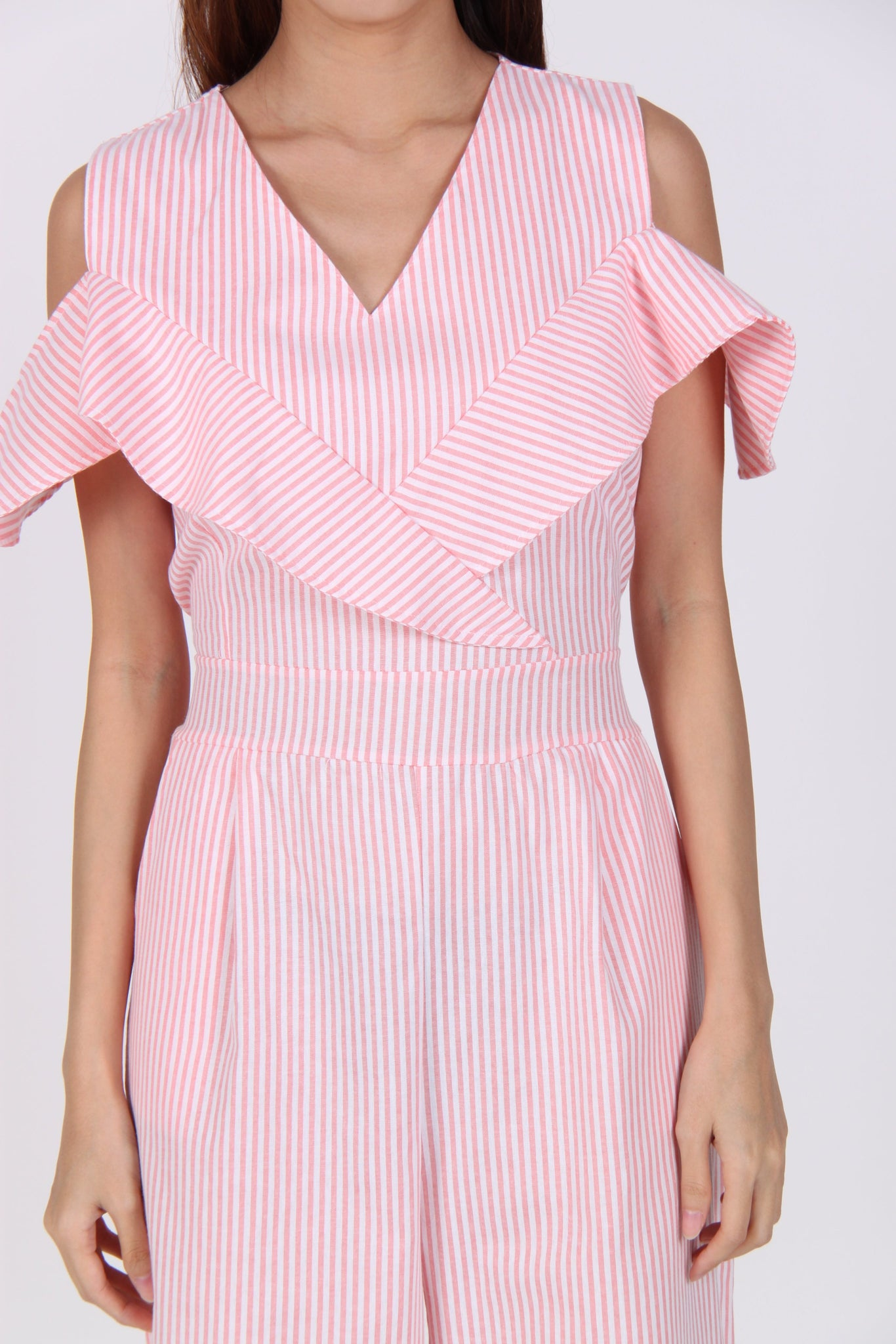 Stripes Cold Shoulder Wide Leg Jumpsuit in Pink