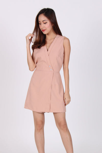 Deep V Layer Romper in Beige
