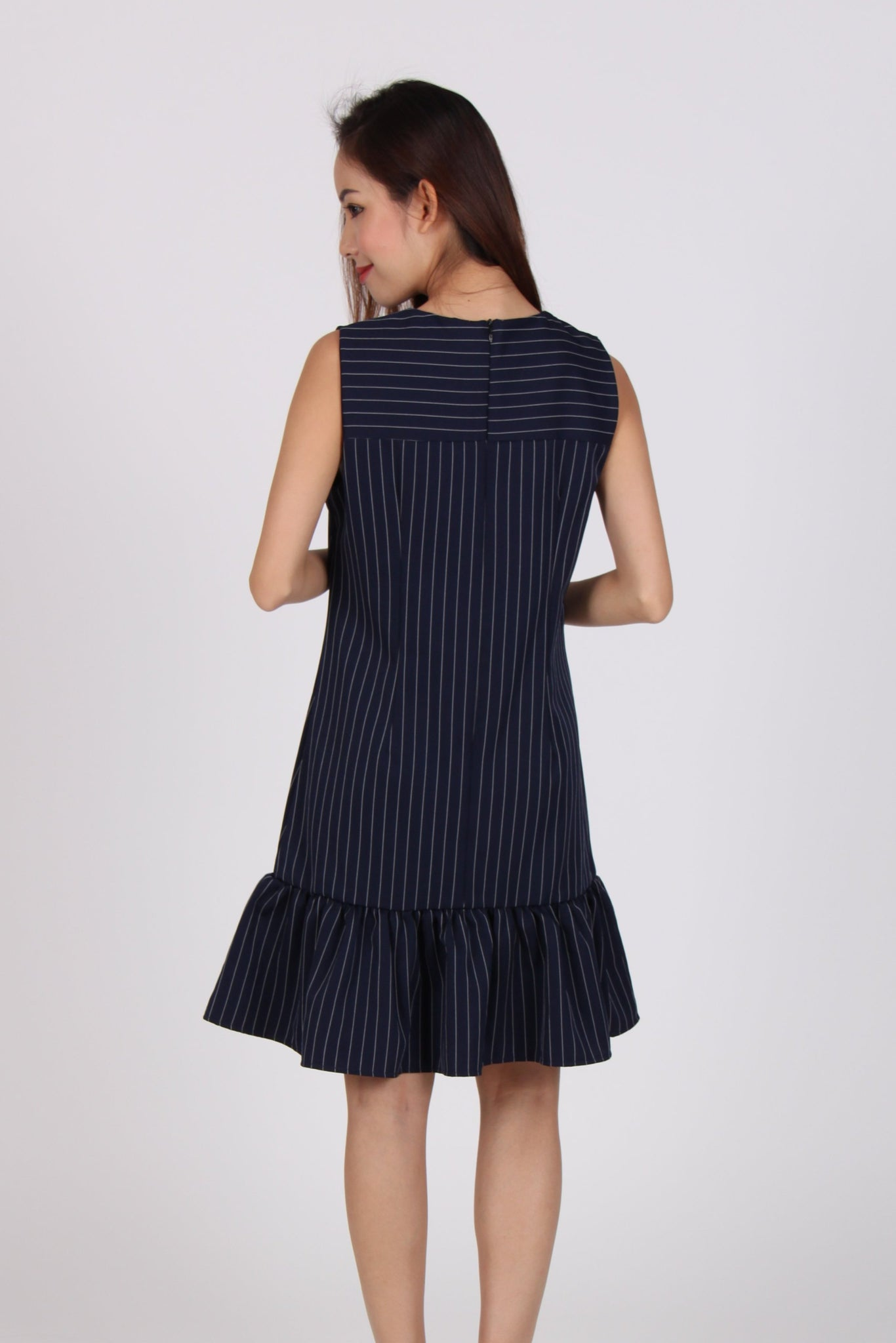 Pinstripes Sleeveless Drop Waist Dress in Navy Blue