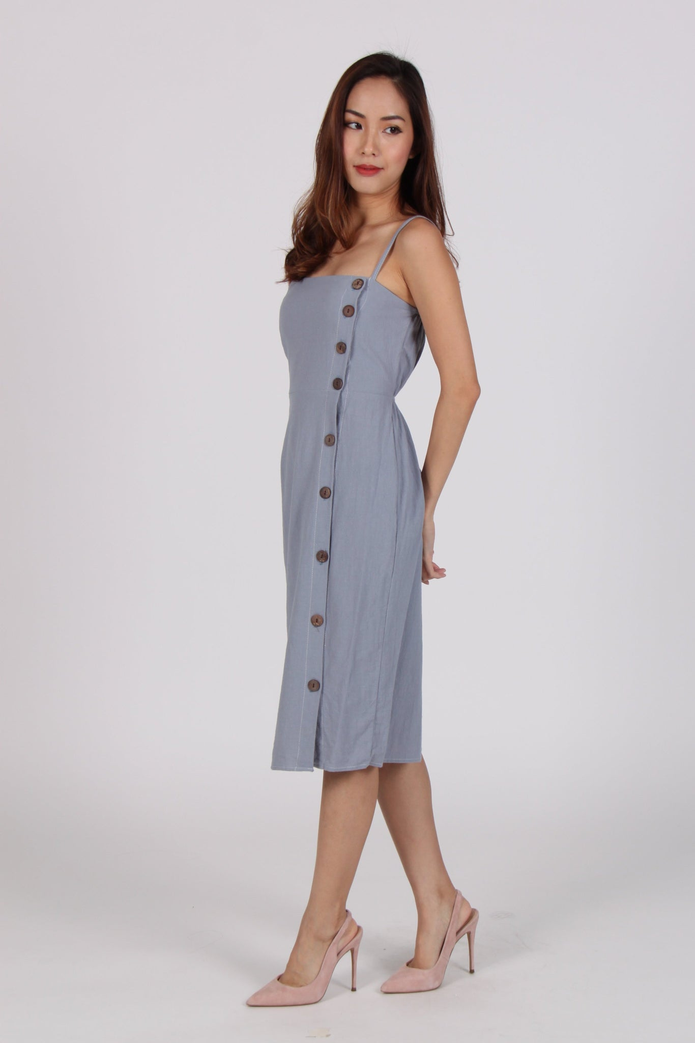 Spag Button Up Dress in Blue