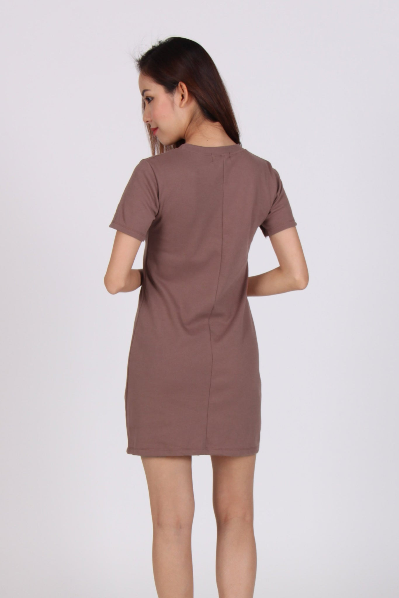 Basic Comfy Tee Dress in Brown