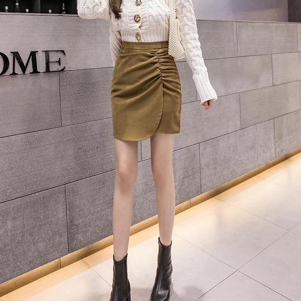 (Pre-Order) Side Gathered High Waist Skirt In Khaki