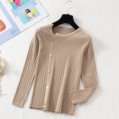 (Pre-Order) Asymmetrical Collar Long Sleeve Knit Side Buttons Top in Khaki