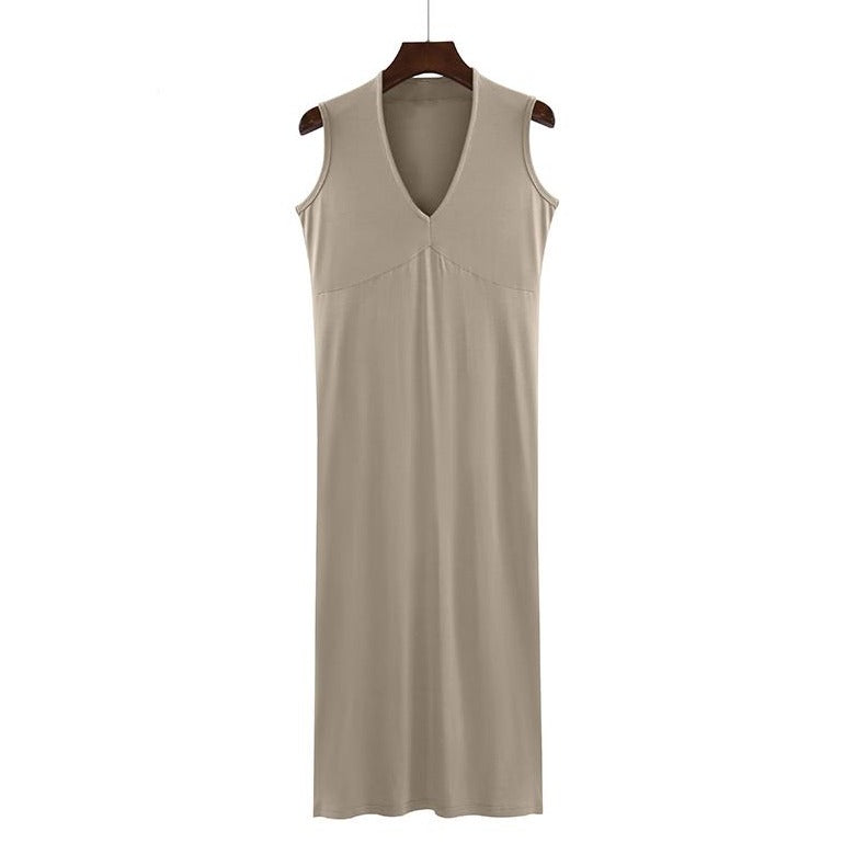 (Pre-Order) Basic Sleeveless V Neck Midi Dress in Khaki
