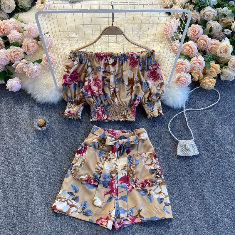 (Pre-Order) 2 Piece Floral Off-Shoulder Balloon Sleeve Cropped Top High Waist Wide Leg Suit in Khaki