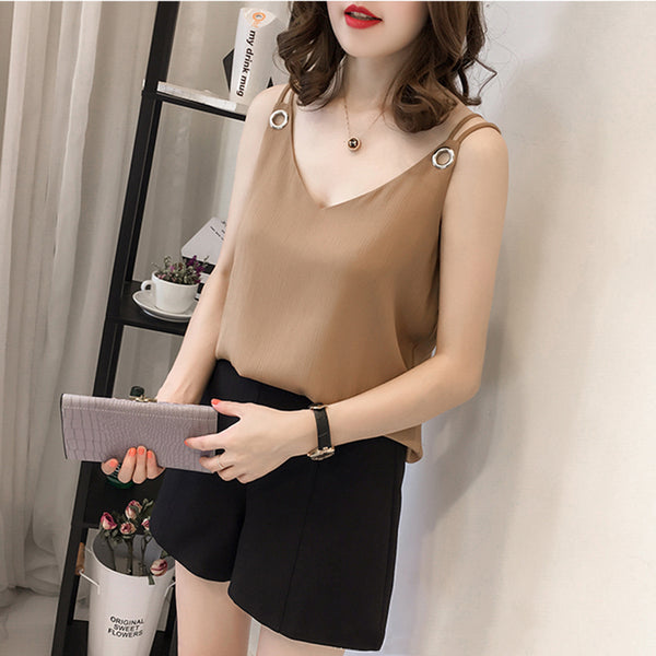 (Pre-Order) Basic Sleeveless Loose Fit Ring Spag Top in Khaki