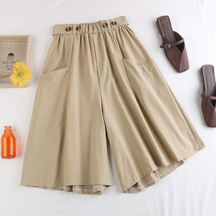 (Pre-Order) Front Pockets Wide Leg Loose Fit Pants in Khaki