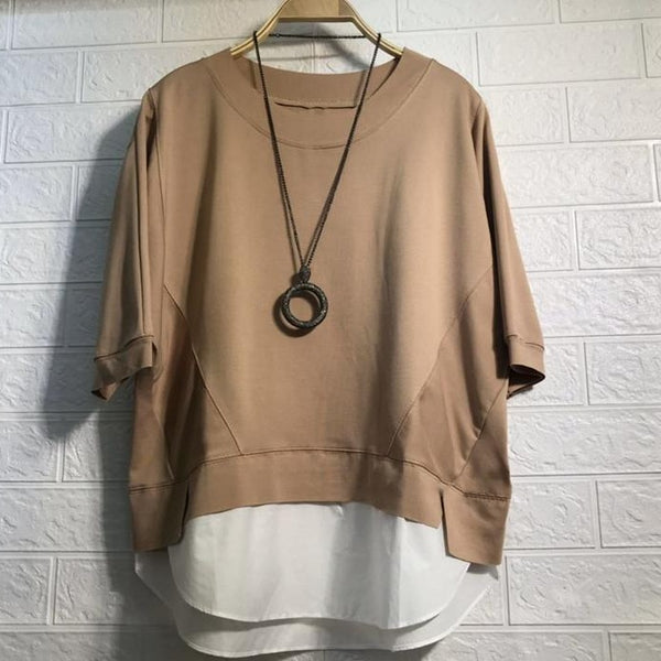 (Pre-Order) Mock 2 Piece Contrast Loose Fit Top in Khaki
