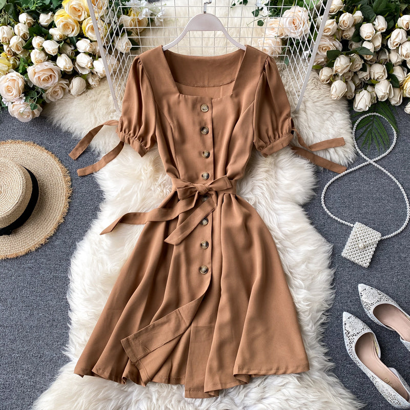 (Pre-Order) Ribbon Tie Square Neck Button Up Balloon Sleeve Dress in Khaki