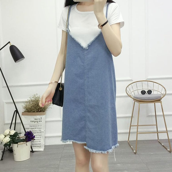 (Pre-Order) Asymmetrical V Denim Spag Pinafore in Light Blue